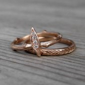 Diamond Leaf + Feather Wedding Band Set