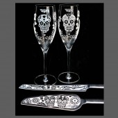 Day of the Dead Champagne Flutes & Cake Server Set