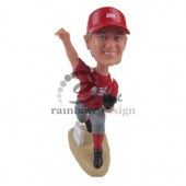 Pitcher Throwing a Fast One Custom Bobblehead