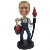 Smiley Painter with Brush Custom Bobblehad