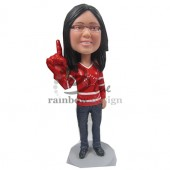 Number 1 Sports Cheering Fan Custom Bobblehead