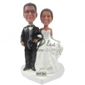 Classic Wedding Couple Walking Custom Bobbleheads