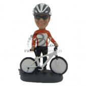 Cyclist Posing with Bike Custom Bobblehead