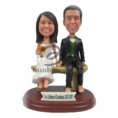 Wedding Couple Sitting on Bench Custom Bobblehads