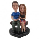 Couple Sittong on Park Bench Custom Bobbleheads