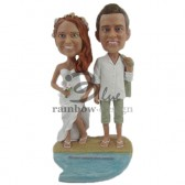 Beach Theme Wedding Couple Custom Bobbleheads