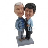 Elderly Hugging Couple Custom Bobbleheads