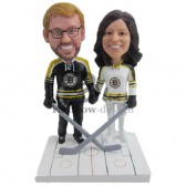 Ice Hockey Fans Couple Custom Bobbleheads