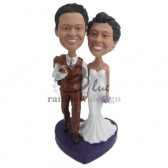 Classic Wedding Couple Walking Down the Aisle Custom Bobbleheads
