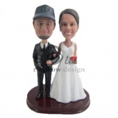 Holding Arms Wedding Couple Custom Bobbleheads