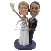 Bride Celebrating with Groom Custom Bobbleheads