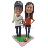 Baseball Fan Couple Custom Bobbleheads