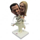 Horsie Pose Wedding Couple Custom Bobbleheads