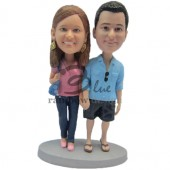 Casual Loving Couple Custom Bobblehead