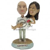 Bride on Grooms Arms Wedding Couple Custom Bobbleheads
