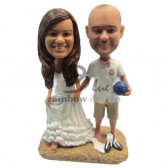 Beach Soccer Fan Wedding Couple Bobbleheads