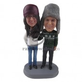 Winter Loving Couple Custom Bobbleheads