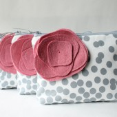 Cosmetic Bag Zipper Pouch Set, Bridesmaid Gift, Grey and Pink