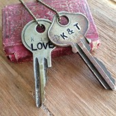 Vintage Double Key Necklace Custom Hand Stamped
