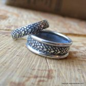 Dragonscale Wedding Bands Matching Set in Sterling Silver