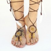 bohemian-beach-wedding-footwear, dream-catcher, starfish, leather-lace-up, foot-jewelry, barefoot-sandals
