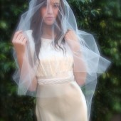 Drop Veil Vintage Veil, Veil with Blusher bridal illusion tulle no gather veil