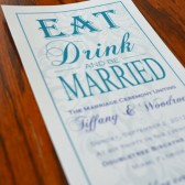 Eat, Drink, and Be Married Peacock Wedding Program