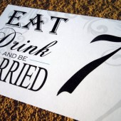 Eat, Drink, and Be Married Peacock Table Number Signs