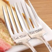Let Them Eat Cake Forks, Wedding Silverware, Wedding Cake Forks