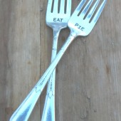 Vintage Silverware Hand Stamped Dessert Forks EAT PIE Set