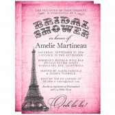 Eiffel Tower on Hot Pink Bridal Shower Invitations by The Spotted Olive