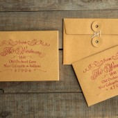 "Elegant return address stamp for wedding invites & save the dates. Prettier than handwritten. 1.5"" x 2.5"" with a wooden handle."