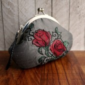 Charcoal gray rose clutch