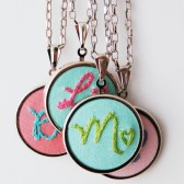 Embroidered Initial Necklace for Bridesmaids