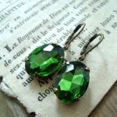 Emerald Green Rhinestone Earrings