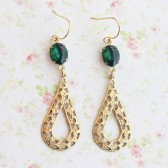 Emerald Green Filigree Earrings