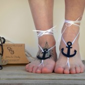 Anchor barefoot sandals, nautical wedding favors