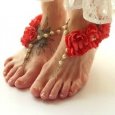 Coral Wedding Barefoot Sandals