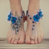 Periwinkle flower barefoot sandals, beach bride sandals
