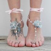 Dahlias flower barefoot sandals, brides beach wedding sandals