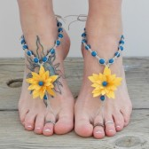 Sunflower yellow barefoot sandals, country garden wedding footwear