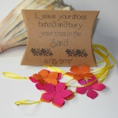 Tropical beach wedding favor, barefoot sandals