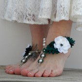 Green and white flower barefoot sandals, garden wedding sandals