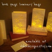 Book Decorations, Book Page Luminary Bags