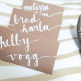 White Ink Kraft Paper Boho Place Cards