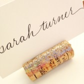 Golden Glitter Wine Cork Place Card Holder