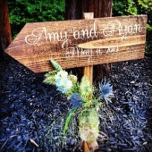 Bride and Groom Directional Ceremony Sign with Flower Vase