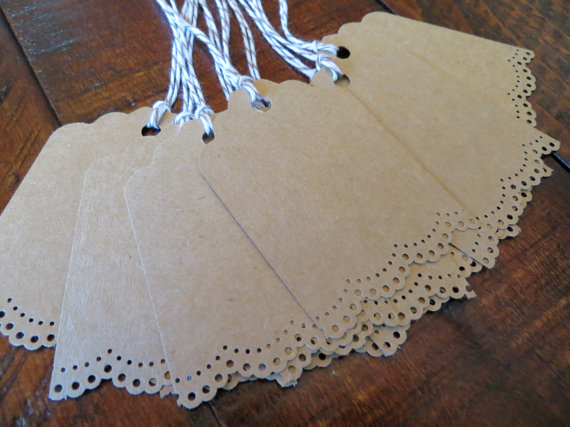 Eyelet Kraft Paper Tags (by Paperlaced via EmmalineBride.com - The Marketplace) #handmade #wedding #tags