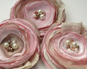 Pink champagne fabric flowers