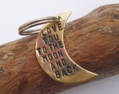 Love You To The Moon and Back - Antiqued Brass Keychain